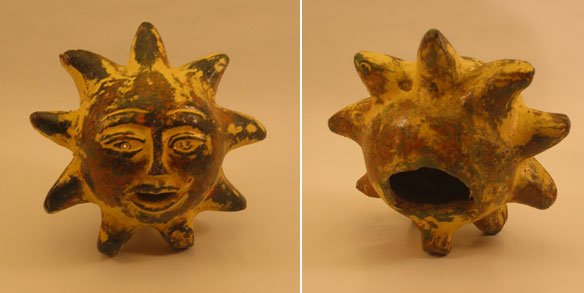 Mexican Terra Cotta  Sunface Candle