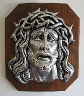 Mexican Pewter - Divine Face on Wood