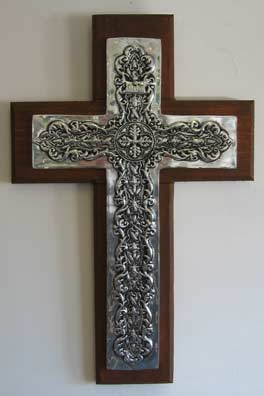 Mexican Pewter - Florentine Cross on Wood