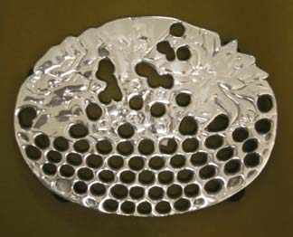Mexican Pewter Flower Basket Trivet