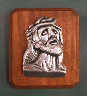 Mexican Pewter - Small Jesus Face on Wood