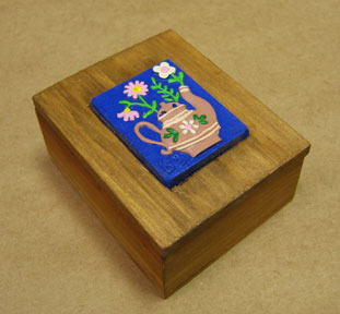 Decorative Wooden Boxes - Hand Painted Ceramic Lid